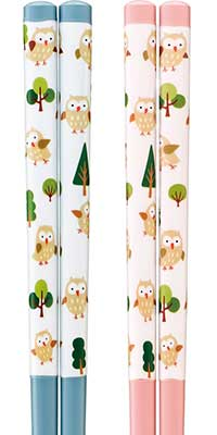 Lacquered chopsticks - Owl Forest